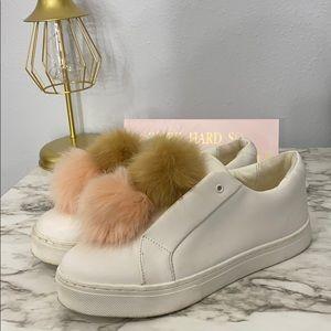 Leya faux fur-trimmed leather slip on sneakers